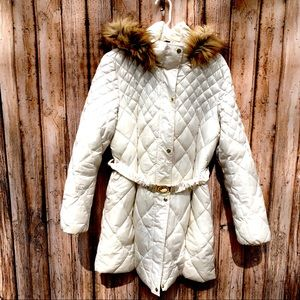 Guess XL white quilted hooded puffer coat jacket